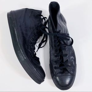 Converse all mono Black Leather High Top sneakers